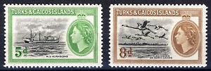 TURKS & CAICOS ISLANDS 1955 DEFINITIVES SG235/236  MNH
