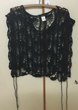 1990s Retro Vintage Black Crochet Wrap One Size