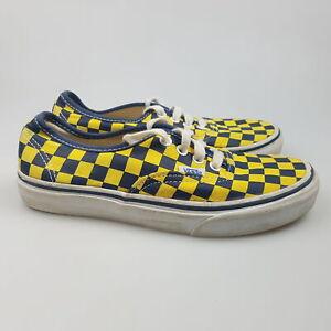 Women's VANS Sz 6.5 US Shoes Yellow Blue VGCon Checks Canvas   3+ Extra 10% Off