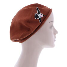 Ladies Brown Beret Hat With Hummingbird Accent Style Women's Trendy Cute Hat