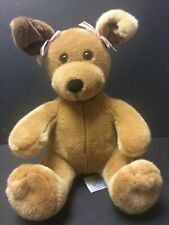 """Build A Bear Workshop Brown Sitting Puppy Girl Dog Plush With Pink Ear Bows 12"""""""
