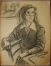 Russian Ukrainian Soviet pencil Painting female portrait realism  woman artist