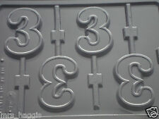 NUMBER 3 No 3 CHOCOLATE LOLLIPOP LOLLY MOULD MOLD 4 ON 1