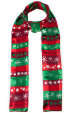 Christmas Scarf Classic Xmas Snowman,Poinsettia  Print Women Girls Scarf Wrap