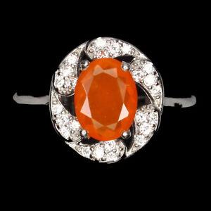 Oval Orange Fire Opal 8x6mm Cz 14K White Gold Plate 925 Sterling Silver Ring 6
