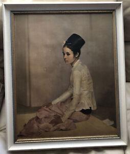 Kitsch Painting Of Princess Saw Ohn Nyun By Sir Gerald Kelly Retro Framed Print.