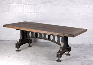 """86"""" L Old Industrial Dining Table Hand Crafted Reclaimed Woods Cast Iron Base"""