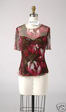 Size 8 Woman Silk Print Beading Cocktail Evening Formal Party Blouse