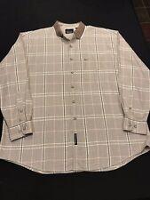 Greg Norman Coll-Shirt Mens Sz.XL/TG-Cotton-Tan Plaid-L Sleeve-Button Up