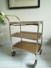 VINTAGE DRINKS/TEA TROLLEY, MID CENTURY, 1960's, GOLD, 3 TIER, COCKTAIL BAR,