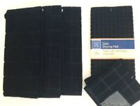 Kitchen Dish Hand 3 Towels 2 Dishcloths Drying Mat Set of 6 New Solid Black New