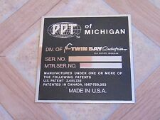 Nos Vintage Passepartout Vin Serial Blank ID Tag PPT of Michigan
