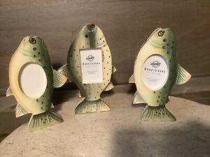 Hobby Lobby SET OF 3 Fish FRAMES FRAMES FOR FISHERMEN NEW GREEN IVORY WOOD