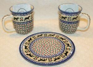 Set of C.A. Polish Pottery - 2 Coffee Mugs & Cheese Platter, Horse pattern, New