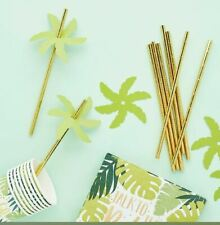 24 GOLD STRAWS WITH PALM LEAF DECORTION TROPIC LIKE IT'S HOT TROPiCAL PARTY