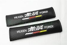 2Pcs Luxury Black Carbon Fiber Mugen Power Car Seat Belt Cushion Shoulder Pads
