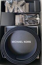 Michael Kors Men's BELT Gift Set Reversible Signature MK Leather in Baltic Blue