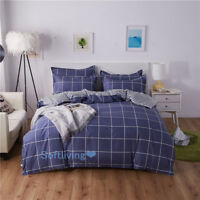 Quilt/Doona/Duvet Cover Set Single/Double/Queen/King Size Bed Pillowcase Checked