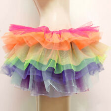 Women Fancy Tutu Short Underskirt Dress Rainbow Puffed Burlesque Petticoat