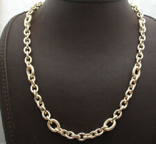 "18"" Technibond Textured Rolo Oval Chain Necklace 14K Yellow Gold Clad Silver"