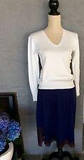 agnis b paris (vintage oberteil) weiß baumwolle v-neck pullover größe medium