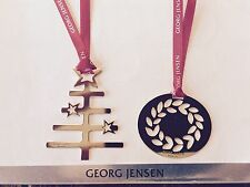 Georg Jensen 2016 Christmas decoration SET OF 2 x 24 k GOLD + ribbons NEW