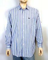 euc Faconnable Classique Blue White Men's Fine Striped Button Down Dress Shirt L