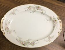 Rose China Occupied Japan, Pretty Pink-Flowered Large Platter With Gold