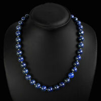 BEAUTIFUL RARE 354.00 CTS NATURAL GOLD FLAKES BLUE LAPIS LAZULI BEADS NECKLACE
