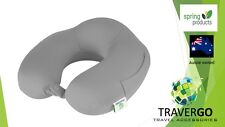 Travel neck pillow- Memory Foam cloth GREY  - Plane Train Car  Bus even in bed