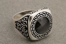Turkish Jewelry Round Cut Black Onyx 925 Sterling Silver Men's Ring Size 8.5