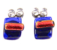 "DICHROIC GLASS STUD EARRINGS Post Cobalt Blue Navy Orange Striped 1/4"" 10mm Tiny"