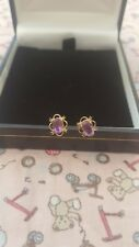 vintage 9ct gold and amathyst stud earrings