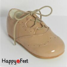 BABY BOYS SEVVA SIZE 1 (3/6 months) BROGUE PATENT SPANISH STYLE LACE -UP SHOE