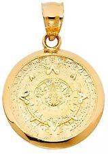 "14K solid AZTEC GOLD Pendant sun mayan calendar yellow mexico charm 2.5g 1.20"""