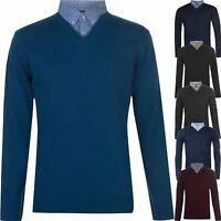 Pierre Cardin Mens V Neck Mock Shirt Collar Knitted Jumper Casual Work Pullover