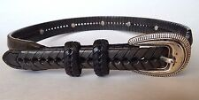 VINTAGE Western Styled Gray Woven Braided Cowboy Belt Silver Concho Stud size 28