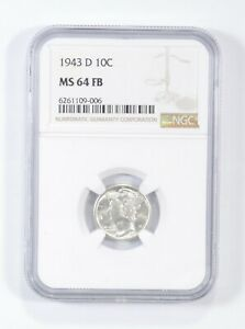 MS64 FB 1943-D - Mercury Silver Dime - NGC Graded *701