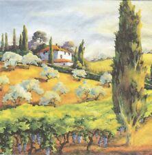 2 Serviettes en papier Paysage Colline Toscane - Paper Napkins Toscana Hillcrest