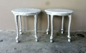 PAIR OF HOLLYWOOD REGENCY MARBLE TOPPED SILVER LEAFED TWISTED ROPE WOOD TABLES