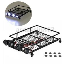 Roof Luggage Rack With LED Light Bar For 1/10 1/8 RC Cars Rock PW4M Black