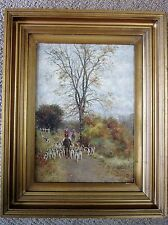 FOX HUNTING OIL PAINTING HOUNDS HORSES ORIGINAL LANDSCAPE SIGNED LONDON ENGLAND