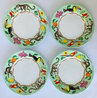 "4 Lynn Chase Monkey Business Salad Plates 8.25"" Monkeys Birds Fruit Flowers"