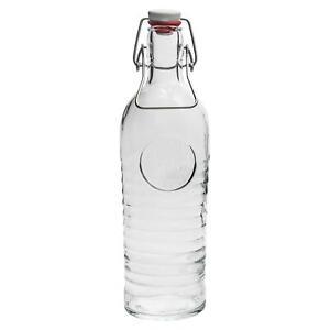 Glass Water Bottle Flip Top Carafe Table Jug, Bormioli Rocco Officina - 1.2L