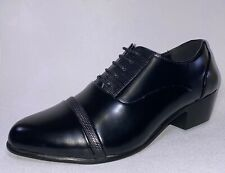 Ditalo By Globe 6834 Mens Black Leather Lace Up Cuban Heel Dress Shoes