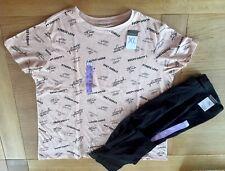 Ladies Women's Girls Primark Tee Top T-Shirt + Black Leggings Set Size XL 18-20