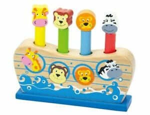 Wooden Pop Up Toy Noah's Ark Educational TOY Learn Animal GIFT Fun