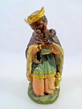 Krippen Figur Gips bemalt König Caspar H 16 cm Heilige 3 Könige Figur um 1930