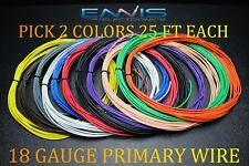 18 GAUGE WIRE ENNIS ELECTRONICS 25 FT EACH PRIMARY CABLE AWG COPPER CLAD 2 ROLLS