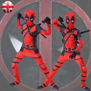 Deadpool Costume Cosplay Kids Bodysuit Boys Fancy Dress Party Adult Superhero...